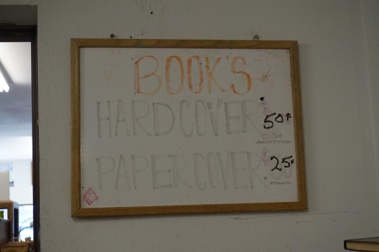 Thriftstore book sign