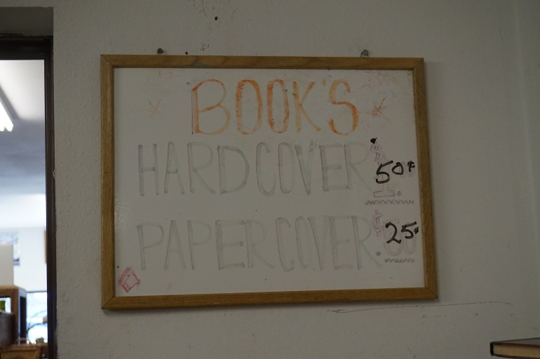 Thriftstore book sign