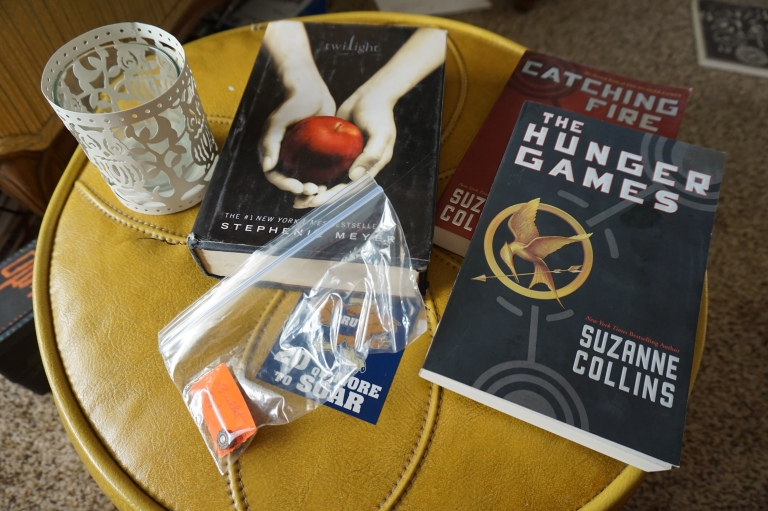 thrift store haul, hunger games, twilight, catching fire, bullet pin, owl candle holder