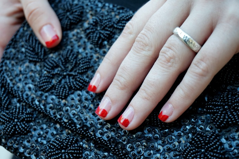 Heart tip valentine's nails