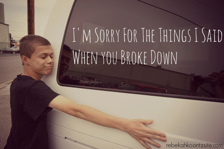 I'm Sorry For The Things I Said When You Broke Down