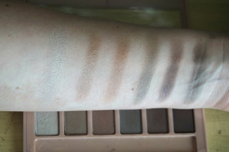 Bottom row of Maybelline the blushed nudes pallet swatches and review