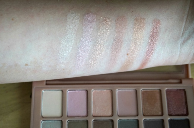 Maybelline the blushed nudes pallet top row of swatches and review