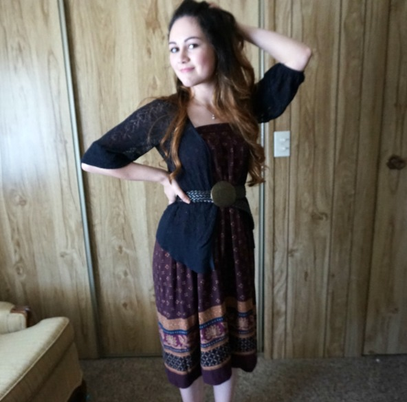 Model pose, vintage secondhand clothes, modest girl