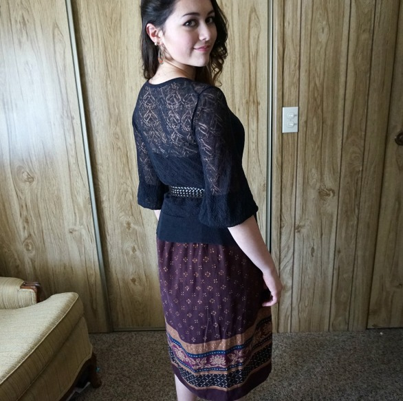 Vintage, secondhand skirt, modest, church clothes OOTD
