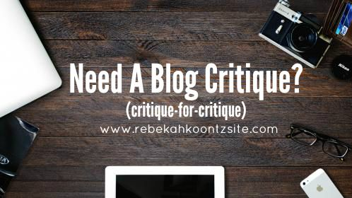 Need a blog critique? Critique for critique